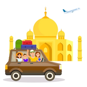 India tourist attraction vector travel postcard.