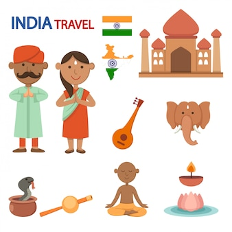India travel illustration vector