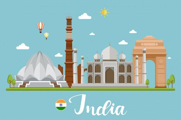 India travel landscape vector illustration