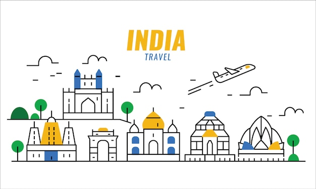 Сцена путешествия индии. тонкая линия плакат и баннер элементы.