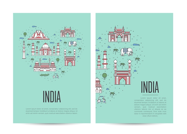 India travel tour poster set in linear style