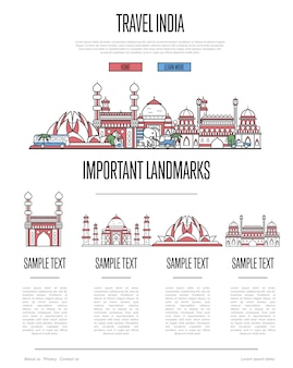 India travel web template in linear style