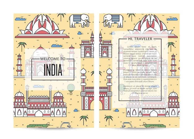 India traveling banners set in linear style