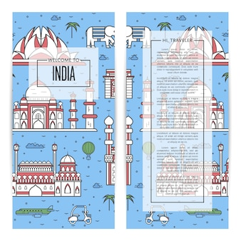 India traveling flyers set in linear style