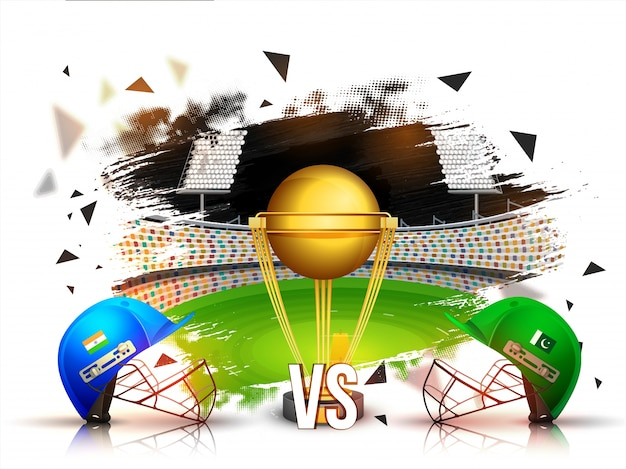 India vs pakistan cricket match concept with batsman helmets and golden trophy on stadium background.
