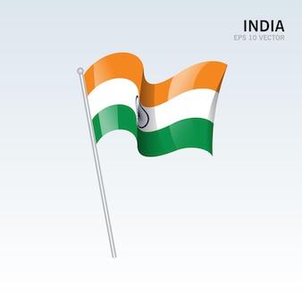 灰色に分離された旗を振っているインド