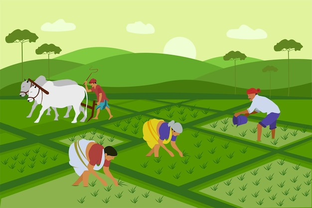 漫画のスタイルでフィールドアジアベクトルの背景で農民の収穫作業
