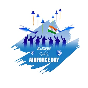 Indian air force dayvector illustration of indian jet air shows on abstract background