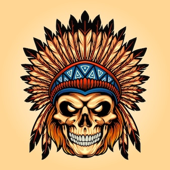 Indian angry skull isolated vector illustrations for your work logo, mascot merchandise t-shirt, stickers and label designs, poster, greeting cards advertising business company or brands.
