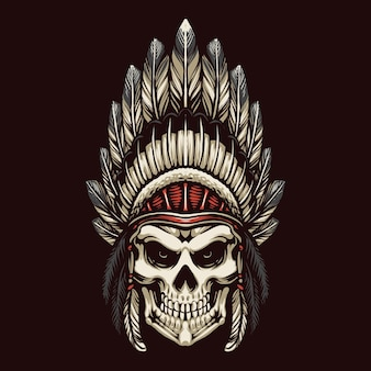 Indian apache skull head illustration design