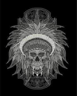 Indian apache skull illustration