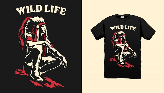 Indian apache tshirt design