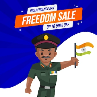 インド軍の男が自由の販売で旗を手に持っています