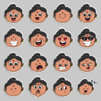 Indian aunt face sticker set