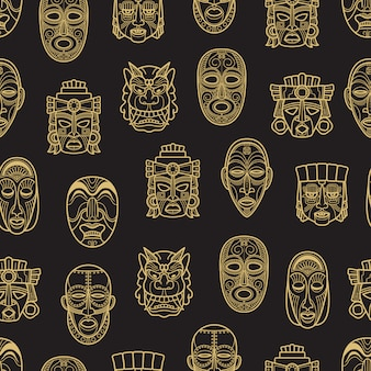 Indian aztec and african historic tribal mask seamless pattern