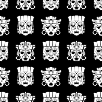 Indian aztec and african tribal vodoo mask seamless pattern