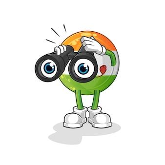 쌍안경으로 인도 배지 마스코트