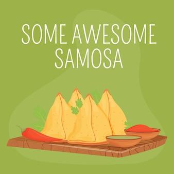 인도 빵집 소셜 미디어 게시물. 멋진 samosa 문구. 웹 배너 디자인 템플릿입니다. 전통적인 패스트리 부스터, 비문이있는 콘텐츠 레이아웃. 포스터, 인쇄 광고 및 평면 그림