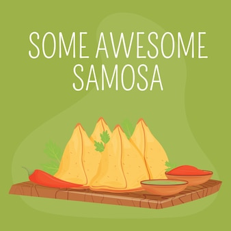 Indian bakery social media post . some awesome samosa phrase. web banner design template. traditional pastry booster, content layout with inscription. poster, print ads and flat illustration