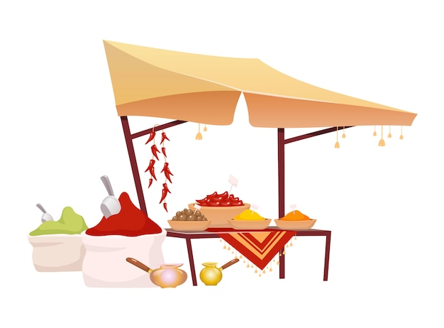 Индийская базар палатка с пряностями иллюстрации шаржа. восточный рынок тент с экзотической приправой, традиционные травы плоский цвет объекта. восточный навес на белом фоне