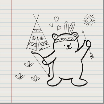Indian bear on paper background