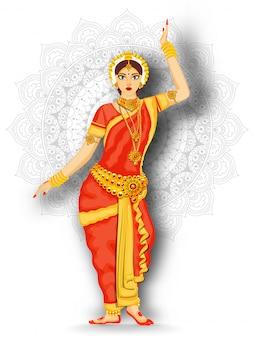 Indian beautiful woman performing bharatanatyam dance on white mandala pattern background.