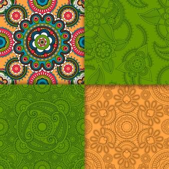 インドベージュとグリーンのパターンセット