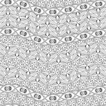 Indian black and white seamless pattern
