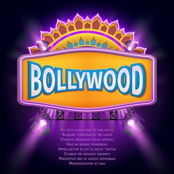 Indian bollywood cinema vector sign board. illuminated banner bollywood movie film illustration