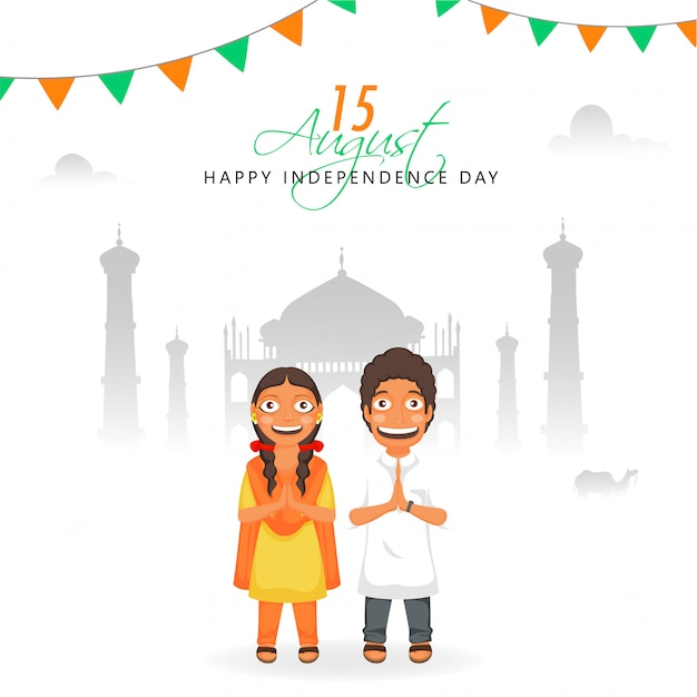 Indian boy and girl doing namaste (welcome pose) and silhouette taj mahal monument on white background
