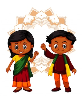 Indian boy and girl on isolated background