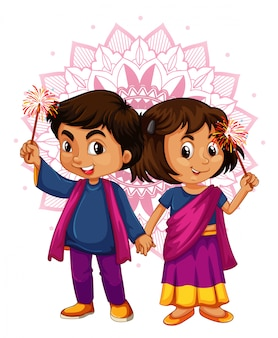 Indian boy and girl with mandala pattern in