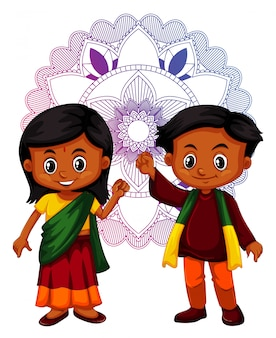 Indian boy and girl with mandala