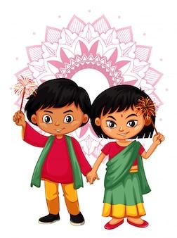 Indian boy and girl with mandala