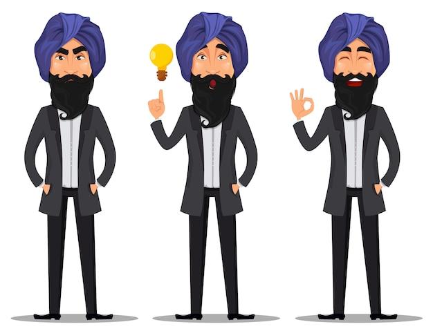 Indian business man cartoon character, set
