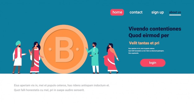 Indian business people mining bitcoin banner