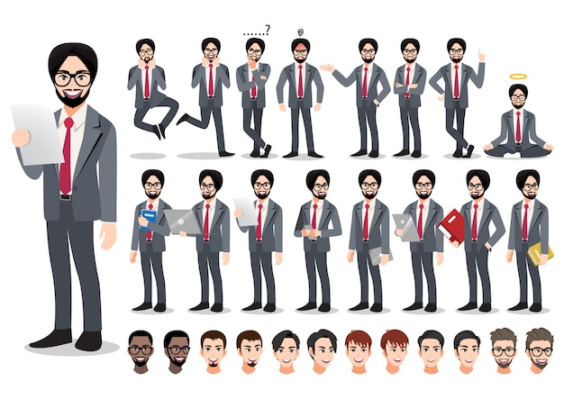 インドのビジネスマンの漫画のキャラクターセット。オフィススタイルのスマートスーツでハンサムな実業家。