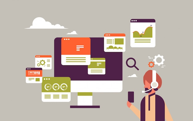 Indian businessman headset online trading monitoring sales banner