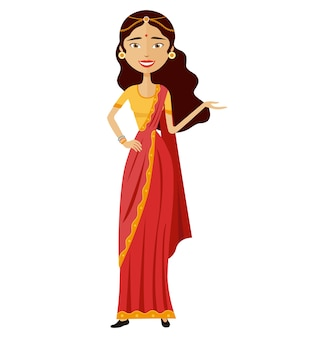 Indian businesswoman presents something vector flat cartoon