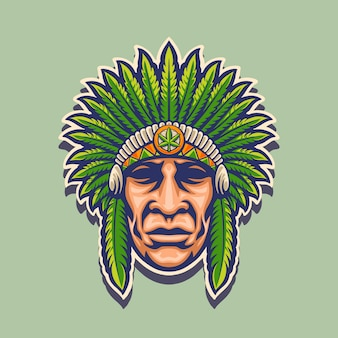 Indian cannabis mascot logo