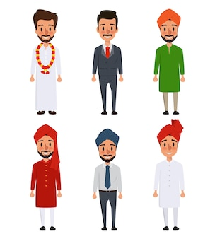 Indian character cartoon of different culture.