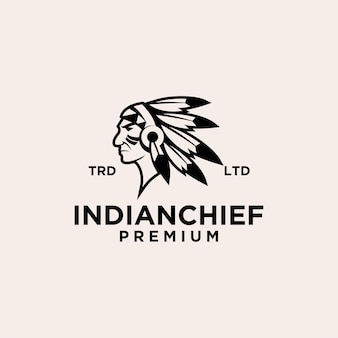 インドの酋長ロゴアイコンイラストプレミアムベクトル