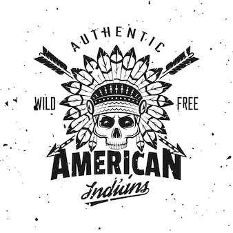 Indian chief skull vector emblem, label, badge or logo in vintage monochrome style isolated on background with removable grunge textures