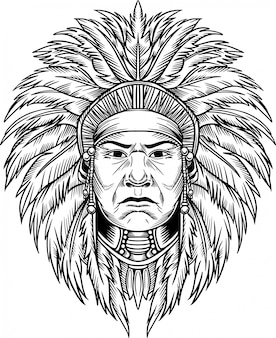 Indian chief vector illustration