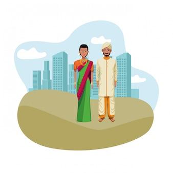 Indian couple avatar cartoon character