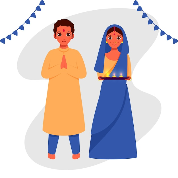 Indian couple character with lit oil lamps (diya) plate in welcome pose.