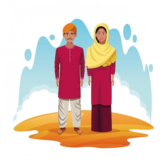 Indian couple of india cartoon