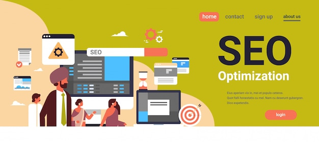 Indian couple man woman monitoring seo search engine optimization banner