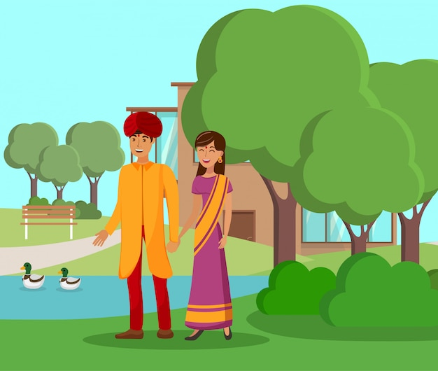 Indian couple walking in park vector illustration