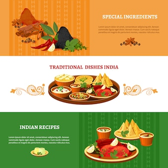 Indian cuisine flat banners set